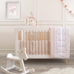Living Textiles 2pce Jersey Bumper Set Swan Princess Pink Stripe